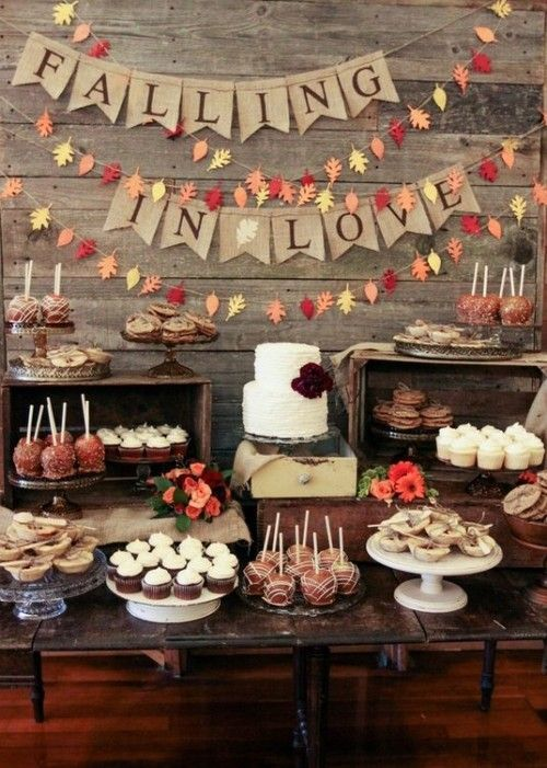 Fall Bridal Shower Dessert Table Decor
