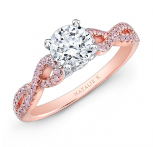 Natalie K 14k White and Rose Gold Twisted Shank Pink Engagement Ring