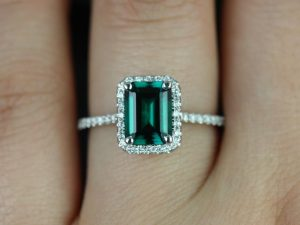 Esmeralda Emerald Diamond White Gold Engagement Ring