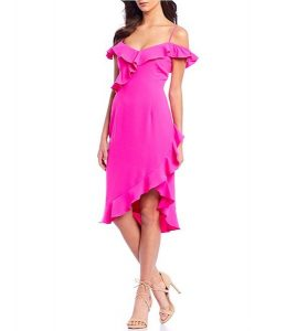crepe dress with ruffle hemline