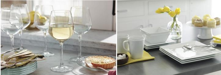wineglasses and dinnerware