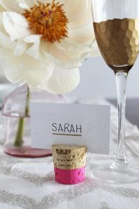 The Best DIY Wedding Ideas: Color Dipped Cork Card Holder