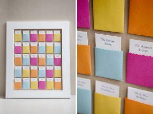The Best DIY Wedding Ideas: Colorful Pocket Escort Card Display