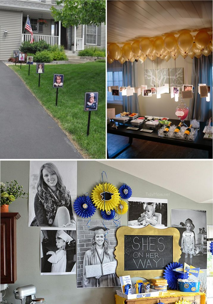 Photo Displays at a Graduation Party