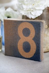 The Best DIY Wedding Ideas: Painted Burlap Table Numbers