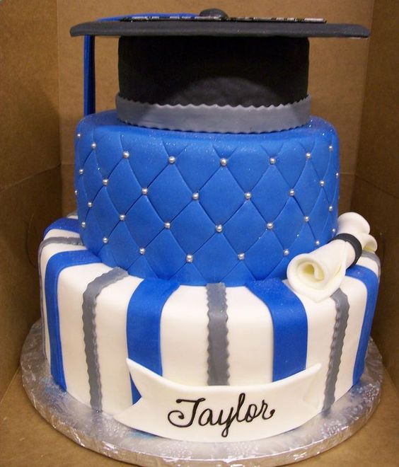 Blue White Graduation Cake