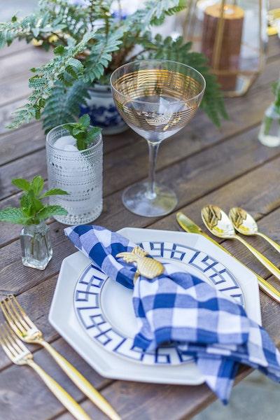 blue gingham napkin