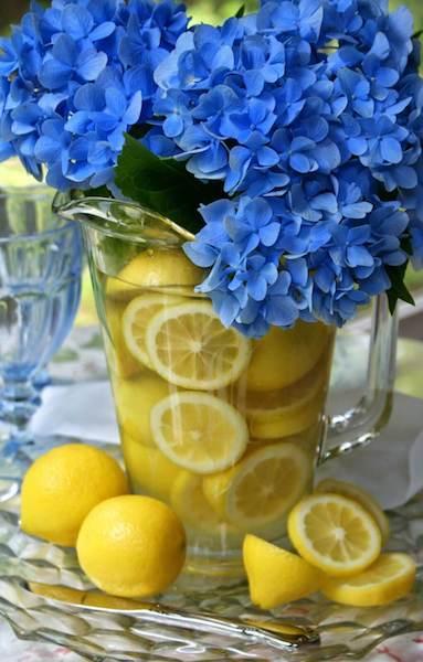 blue white lemons decoration