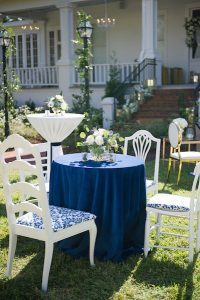 blue white seating outdoor