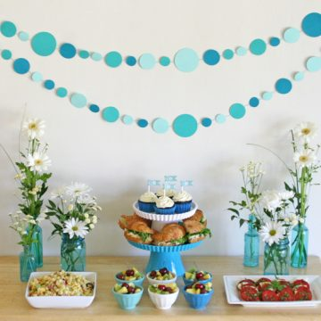 Alt text: DIY Baby Shower Ideas- Dot Garland