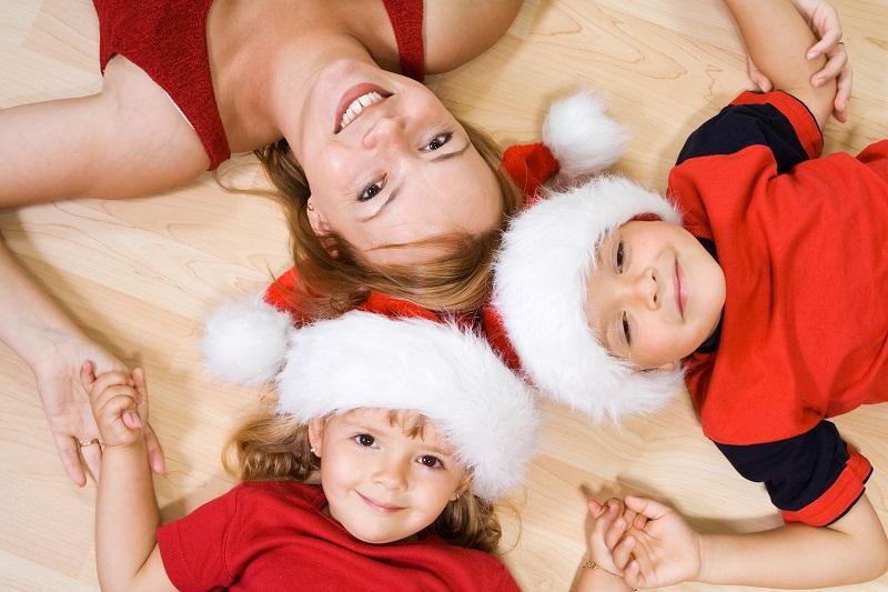 Woman and kids at christmas time