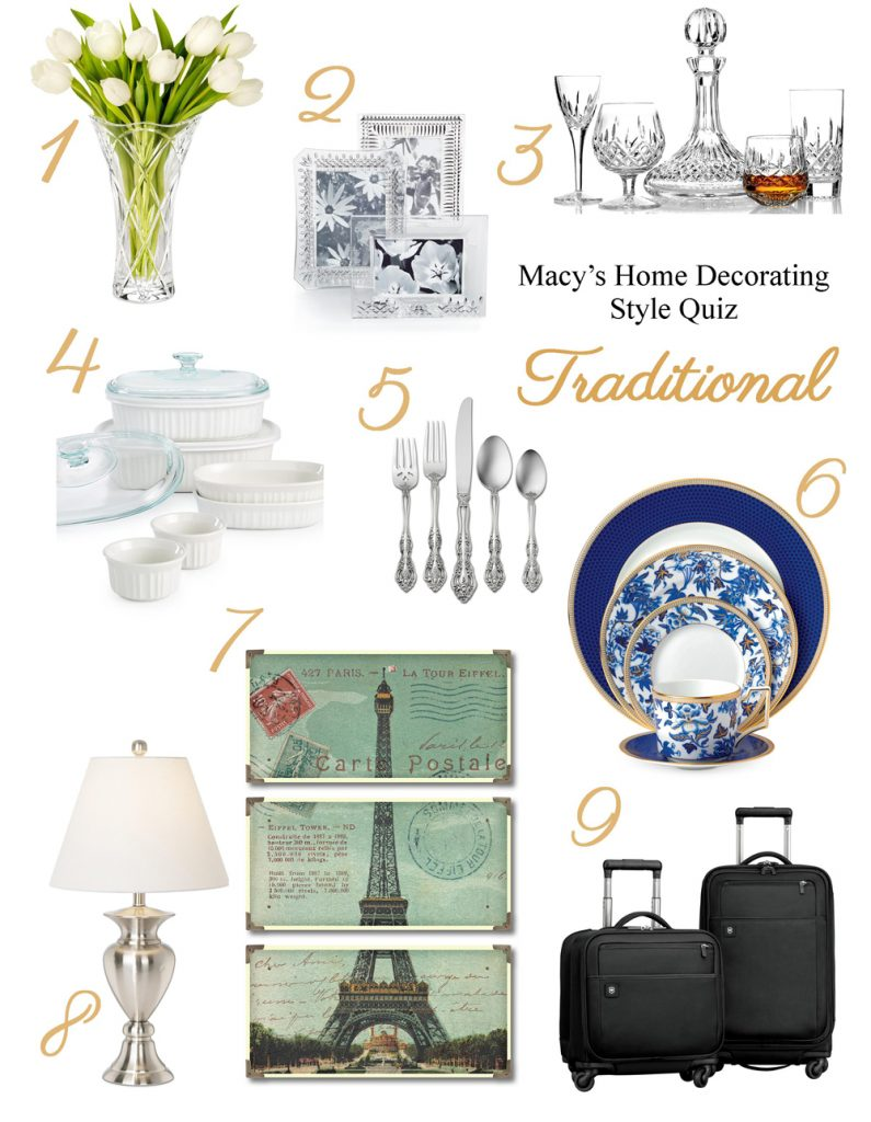 What's Your Home Decorating Style? Take Macy's Home Decorating Quiz! | Traditional Home Décor | from RegistryFinder.com