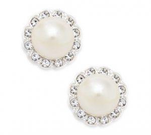 Charter-Club Silver-Tone Imitation Pearl and Pavé Stud Earrings