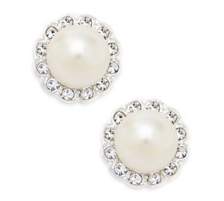 Charter-Club Silver-Tone Imitation Pearl and Pavé Stud Earrings