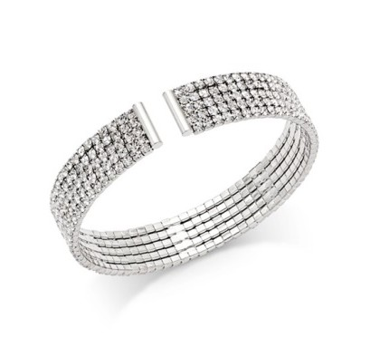 INC International Concepts Silver-Tone Multi-Crystal Cuff Bracelet