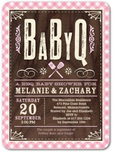 Girl's Baby Q Baby Shower Invitations