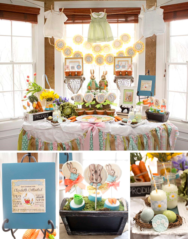 Fresh Ideas for a Springtime Baby Shower | Spring Baby Shower Themes and Inspiration from RegistryFinder.com | Peter Rabbit Baby Shower