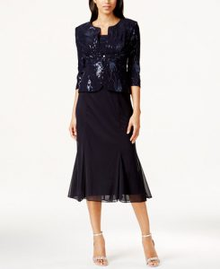 Alex Evenings Sleeveless Sequin Midi Dress and Jacket
