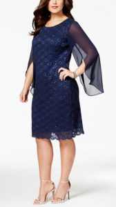 Plus Size Angel-Sleeve Sequined Dress | Mother of the Bride Dress