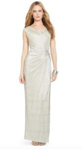 Metallic Cowl-Neck Gown   Mother of the Bride Dress