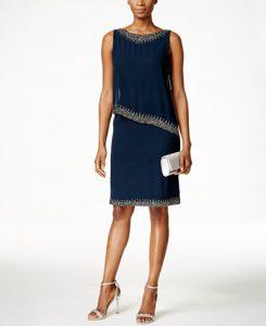 J Kara Beaded Capelet Dress