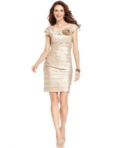 London Times Rosette Cocktail Dress