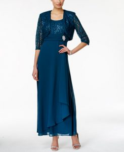 R&M Richards Sequined Petite Lace Dress and Jacket