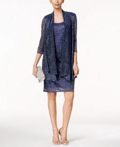R&M Richards Sleeveless Metallic Dress and Jacket