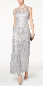 Sequined Illusion Column Gown   Mother of the Bride Dress