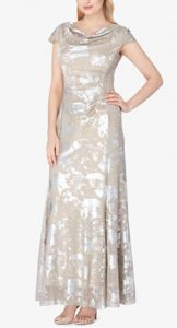 Metallic Cap-Sleeve Gown | Mother of the Bride Dress
