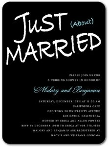 just about married coed wedding shower invite