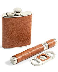 Bey-Berk 6 Ounce Flask, Cigar Tube and Cutter Gift Set