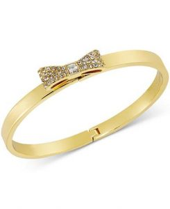 kate spade new york Gold-Tone Pavé Bow Bangle Bracelet