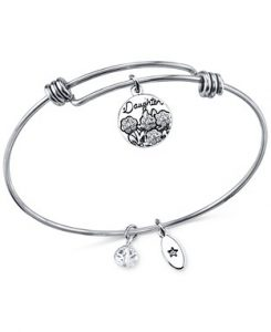 Daughters Charm and Crystal Bangle Bracelet by Unwritten