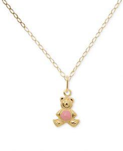 Pink Enamel Teddy Bear Pendant Necklace in 14k Gold