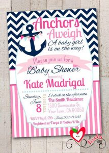 Nautical Baby Shower Invites for a Girl