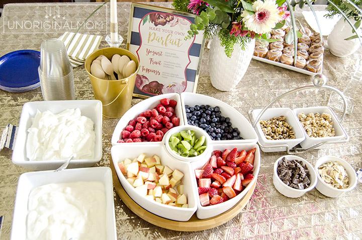 Yogurt Parfait Bar for a Bridal or Baby Shower