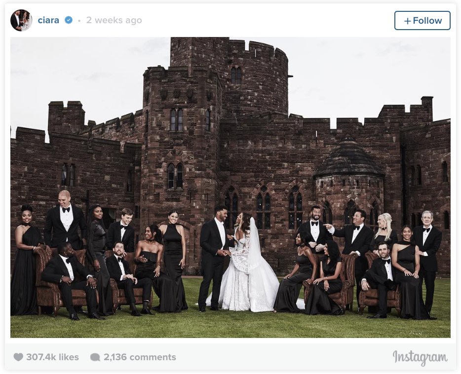 Russell Wilson and Ciara Wedding on Instagram