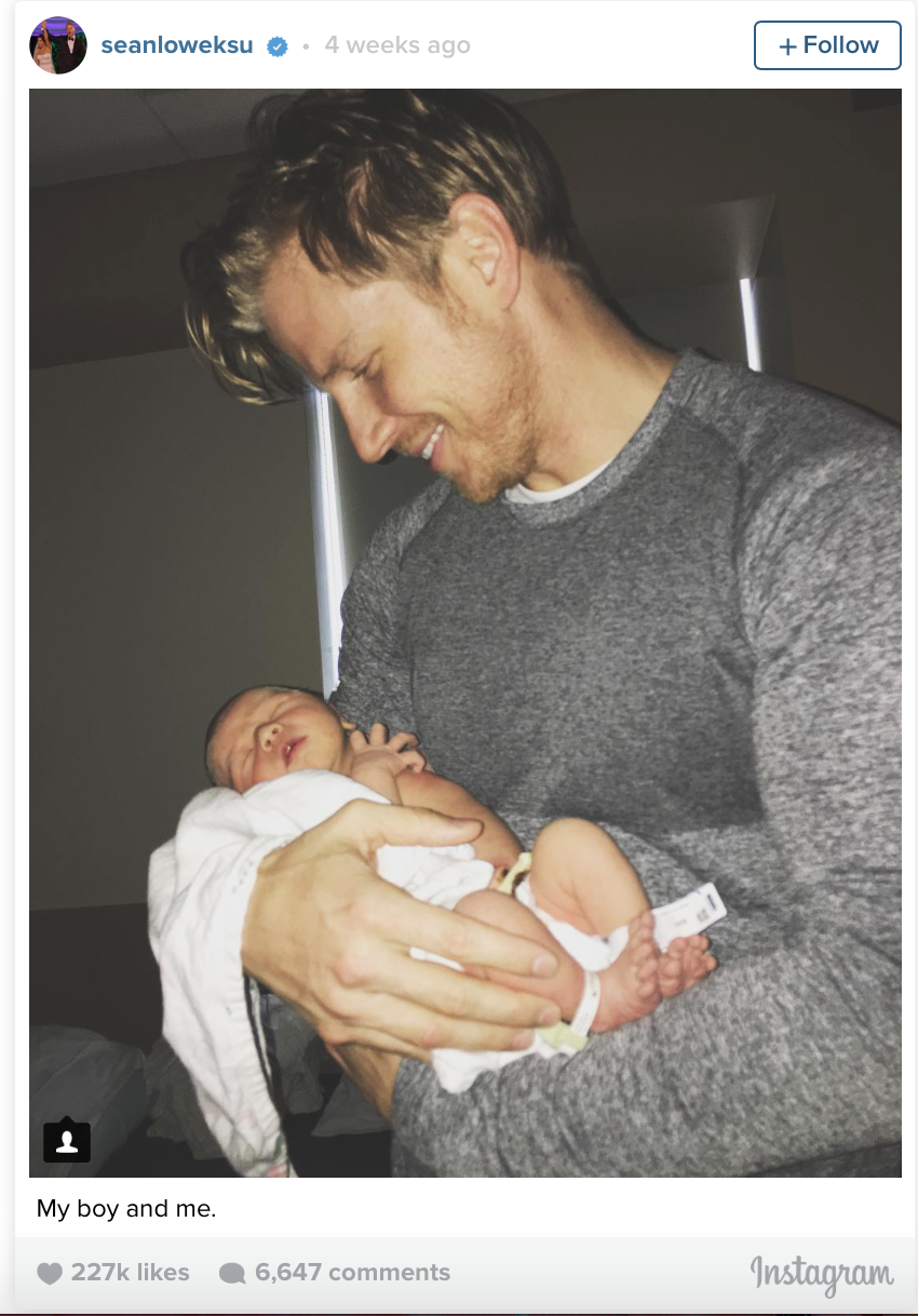 Sean Lowe holding his newborn baby