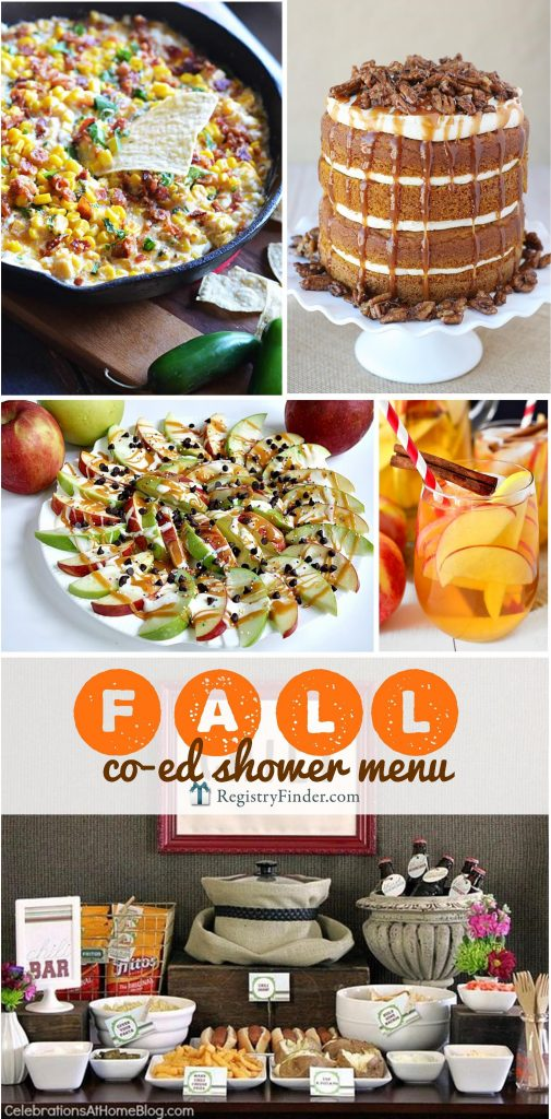 Fall Co-Ed Shower Menu | Are you planning a co-ed shower? Check out our Fall Co-ed Shower Menu. Minimum effort + maximum flavor...we've carefully selected delicious, easy dishes that are filled with autumn's best flavors!