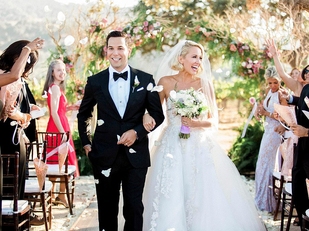 Celebrity weddings | Skyler Astin and Anna Camp's Vineyard Wedding | Couple Walking Up the Aisle