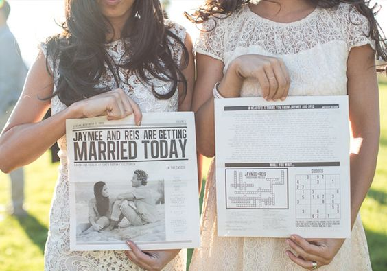 Fun Games and Activities that Will Keep Your Wedding Guests Entertained   Newspaper Style Wedding Program