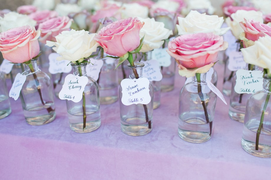 Celebrity weddings | Skyler Astin and Anna Camp's Vineyard Wedding |Escort cards were attached to miniature vases