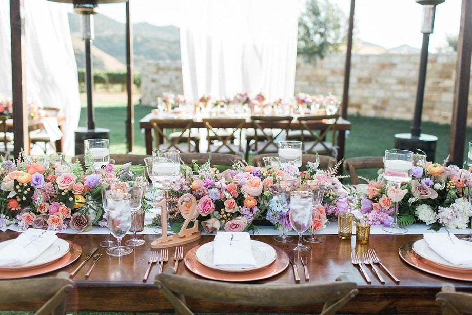 Celebrity weddings | Skyler Astin and Anna Camp's Vineyard Wedding | Floral Runner | Floral Centerpieces