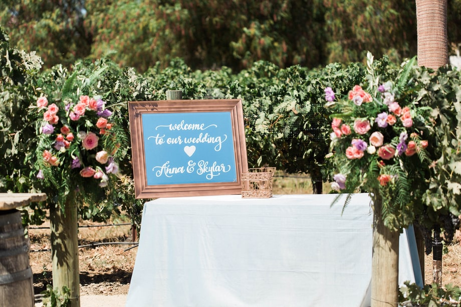 Celebrity weddings | Skyler Astin and Anna Camp's Vineyard Wedding | Wedding Welcome Sign