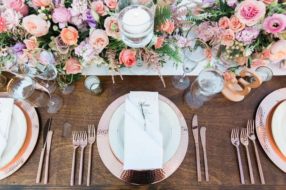 Celebrity weddings | Skyler Astin and Anna Camp's Vineyard Wedding | Floral Runner | Rose Gold Dinnerware | Wedding Place Settings