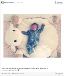 Wilde's Instagram was instantly filled with adorable images of her daughter sleeping, cuddling, and even breastfeeding.