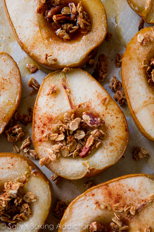 Light and Healthy Thanksgiving Sides and Desserts | Maple Vanilla Baked Pears