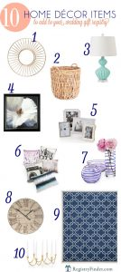 Top 10 Home Décor Items to Add to Your Wedding Gift Registry | Wall art, rugs, lamps, vases, clocks, pillows and more!