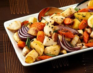 Light and Healthy Thanksgiving Sides and Desserts | Herb Roasted Root Vegetables